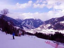 Одна из лыжных трасс на Австрийском горнолыжном курорте Бад Гастайн