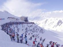 Соревнования лыжников на Австрийском горнолыжном курорте Санкт-Антон